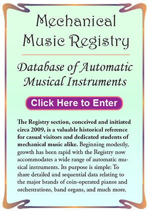 The Mechanical Music Registry section banner.