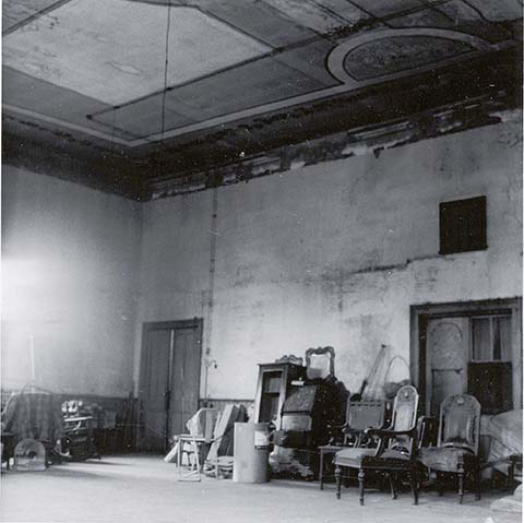 Upstairs ballroom of the Martin Hotel, circa 1963-1965.