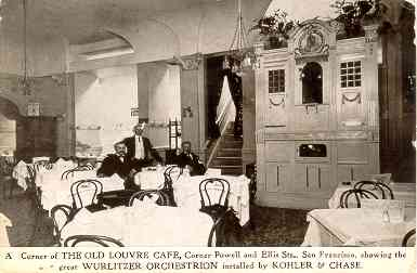 The great Wurlitzer PianOrchestra in the Old Louvre Cafe at the corner of Powell and Ellis Streets (1909), San Francisco, California.