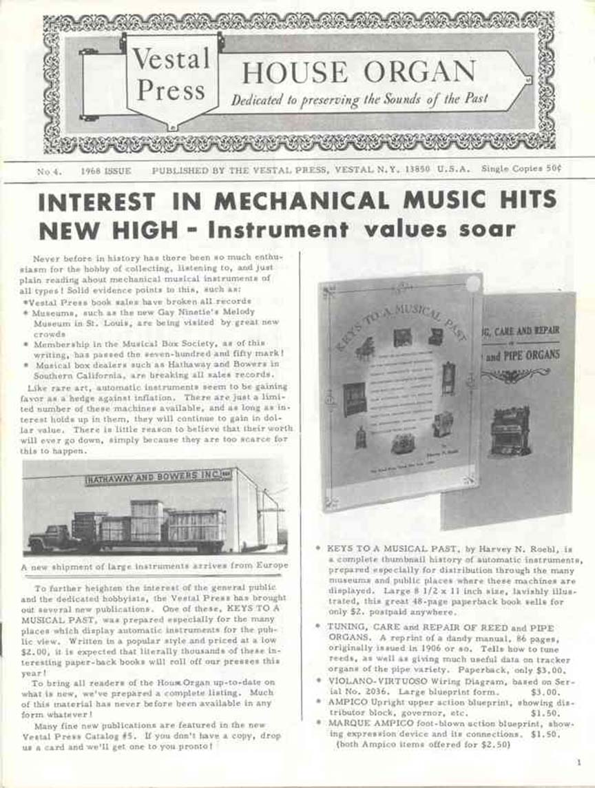 Page 1 of the Vestal Press House Organ No. 4, 1968 Issue.